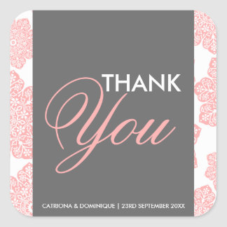 Pink and Gray Batik Flowers Thank You Sticker