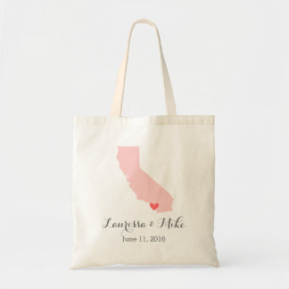 Pink and Gray California Wedding Welcome Tote