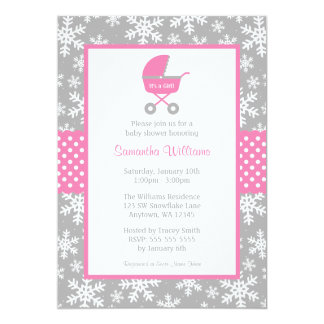 Pink and Gray Carriage Snowflakes Baby Shower Card