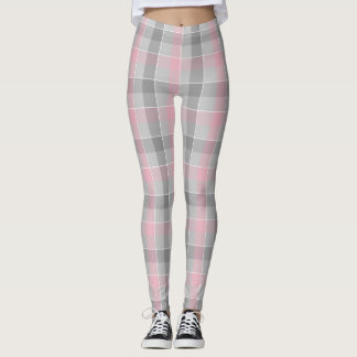 pink and gray checkered plaid leggings