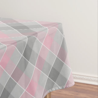 pink and gray checkered plaid tablecloth