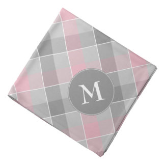 pink and gray checkered plaid with monogram bandana
