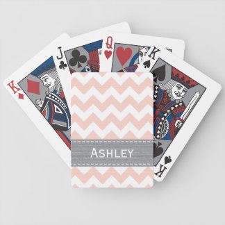 Pink and Gray Chevron Bicycle® Playing Cards