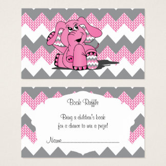 Pink and Gray Chevron Elephant Baby Book Raffle Business Card