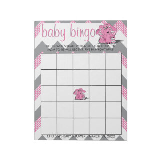 Pink and Gray Chevron Elephant Baby Shower Bingo 2 Notepad