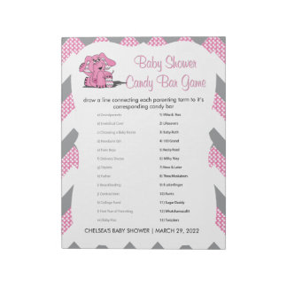 Pink and Gray Chevron Elephant Baby Shower Game 2 Notepad