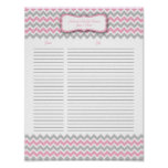 Pink and Gray Chevron Shower Gift List Posters
