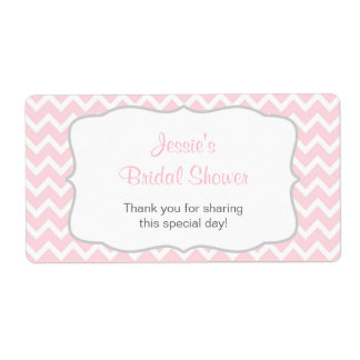 Pink and Gray Chevron Water Bottle Label
