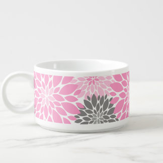 Pink and Gray Chrysanthemums Floral Pattern Bowl