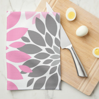 Pink and Gray Chrysanthemums Floral Pattern Kitchen Towel