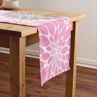 Pink and Gray Chrysanthemums Floral Pattern Short Table Runner