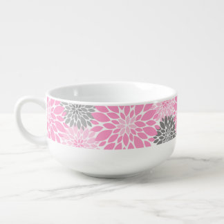 Pink and Gray Chrysanthemums Floral Pattern Soup Mug