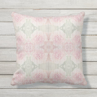Pink and gray Country chic design Outdoor Pillow