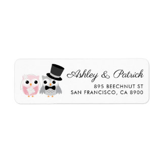Pink and Gray | Cute Owl Bride and Groom Wedding