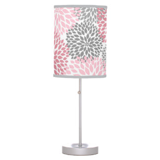 Pink and Gray Dahlia Bedroom Nursery Table lamp