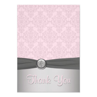 Pink and Gray Damask, Ballet Thank You Card