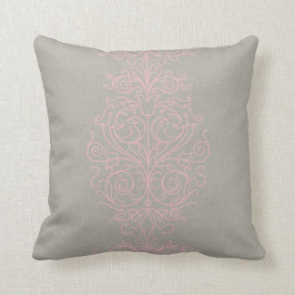 Pink and Gray Damask Throw Pillow