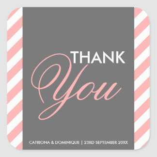 Pink and Gray Diagonal Stripes Thank You Sticker Square Sticker