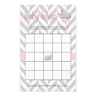 Pink and Gray Elephant Baby Shower Bingo Stationery