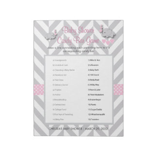 Pink and Gray Elephant Baby Shower Game Notepad