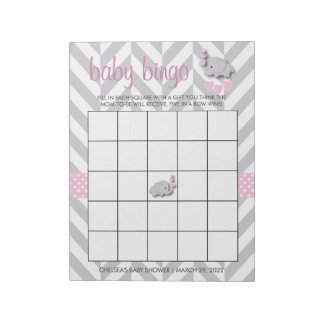 Pink and Gray Elephant | Baby Shower - Game Notepad