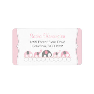 Pink and Gray Elephants Baby Girl Shower Label