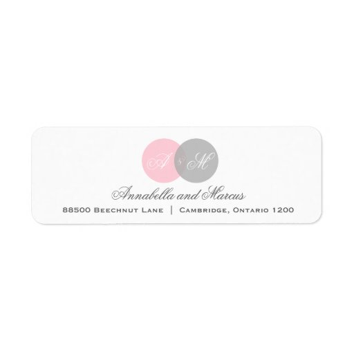 Pink and Gray Entwined Monogram Address Label