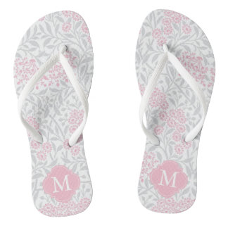 Pink and Gray Floral Damask Monogrammed Flip Flops