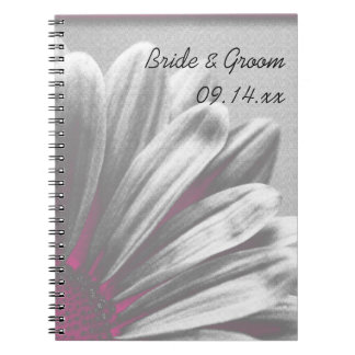 Pink and Gray Floral Highlights Wedding Notebook