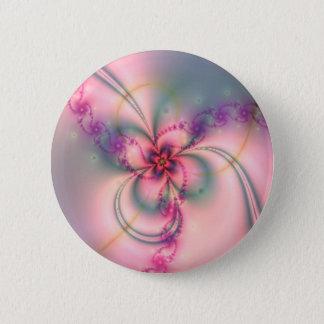 Pink And Gray Flower 2 Inch Round Button