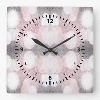 Pink And Gray Glitter Looking Pattern Square Wall Clock