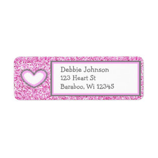 Pink and Gray Glitter Return Address Sticker