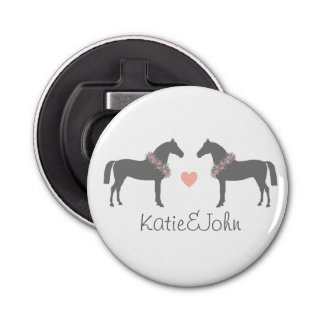 Pink and Gray Horses Wedding Button Bottle Opener