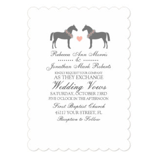 Pink and Gray Horses Wedding Invitation