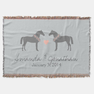 Pink and Gray Horses Wedding Throw Blanket