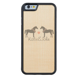Pink and Gray Horses Wedding Maple iPhone 6 Bumper Case