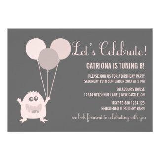 Pink and Gray Kooky Monster Birthday Invitation