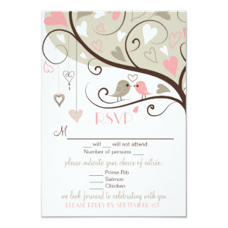 Pink and Gray Lovebirds RSVP Wedding Card