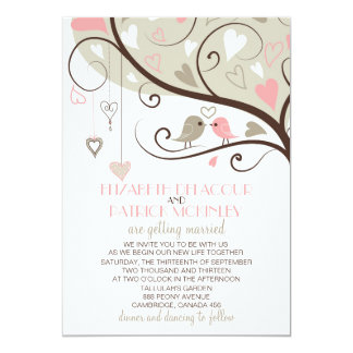 Pink and Gray Lovebirds Wedding Invitation