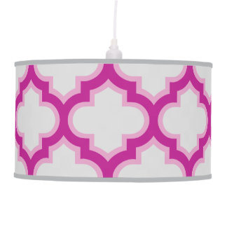 Pink and Gray Moroccan Lattice Pendant Lamp