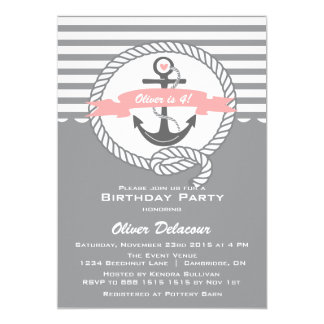 Pink and Gray Nautical Kids Birthday Invitation