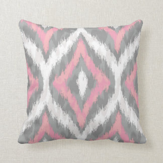 Pink and Gray Ogee Ikat Pattern Throw Pillow