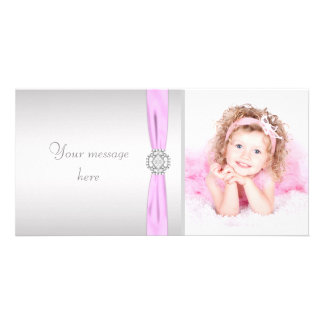 Pink and Gray Photo Thank You Personalized Photo Card