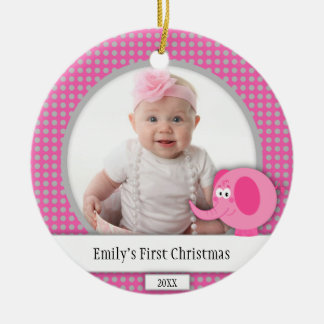 Pink and Gray Polka Dot with Elephant Ornament