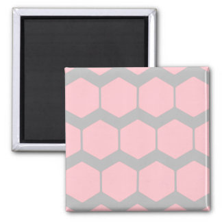 Pink and Gray, Retro Geometric Zigzag Pattern. Square Magnet