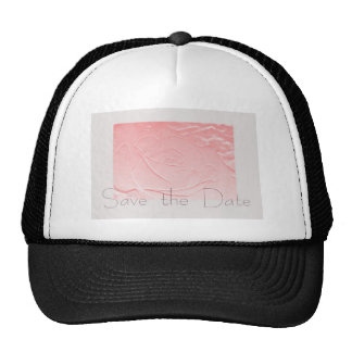 Pink and Gray Rose Save the Date Mesh Hats
