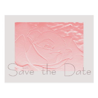 Pink and Gray Rose Save the Date Postcard