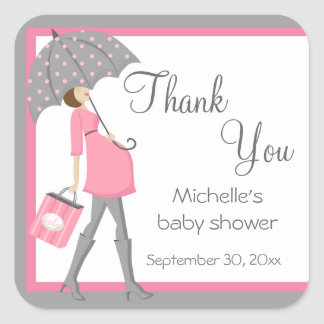 Pink And Gray Shopper Baby Shower Stickers