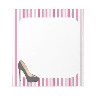 Pink and Gray Stripes With Gray Stiletto Notepad