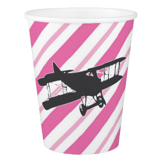 Pink and Gray Vintage Airplane Paper Cups